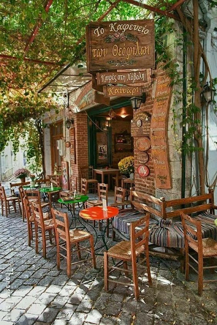Cafe in Agiassos, Lesvos - Greece