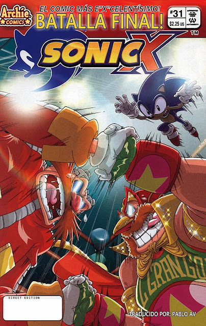 Actualización 02/04/2018: Se agrega el numero 31 de Sonic X por Pablo_Av para The Tails Archive y La casita de Amy Rose. ¿Quién es esa masa de maldad enmascarada que se abre camino a través del ring? ¿Puede ser? ¡Lo es! ¡El loco Dr. Eggman, una vez más, finge ser la sensación de la lucha libre enmascarada, El Gran Gordo! Pero si ese es realmente él, ¿cómo puede el Dr. Eggman estar robando Station Square al mismo tiempo? ¡Depende de Sonic descifrar este quien este misterioso doppelganger!