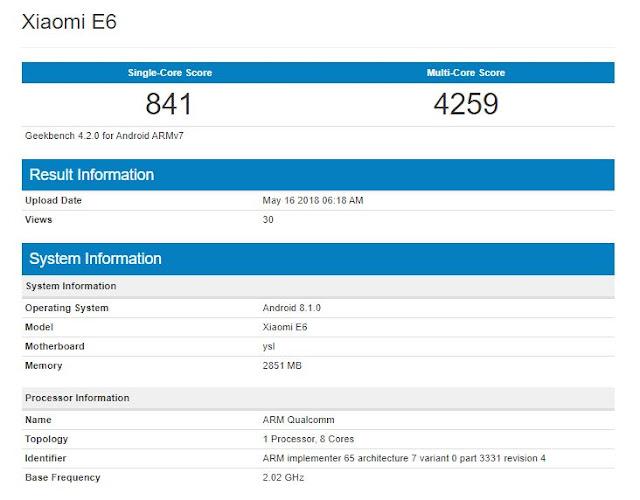 xiaomi-e6-specifications