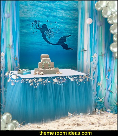 mermaid party decorations - mermaid party ideas - mermaid themed birthday party