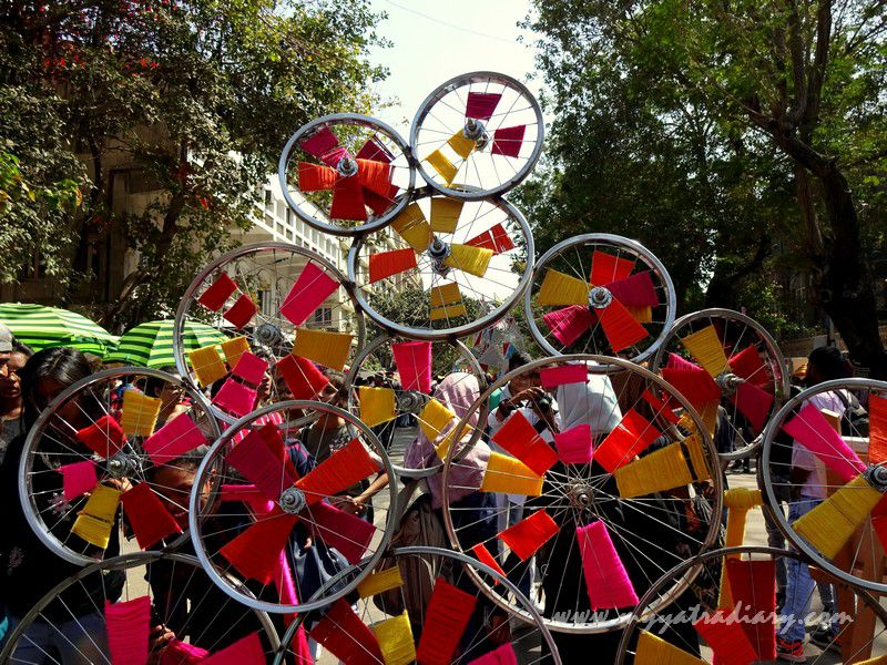 The spinning wheel at Visual arts at Kala Ghoda Arts Fest, Cross Maidan, Fort.