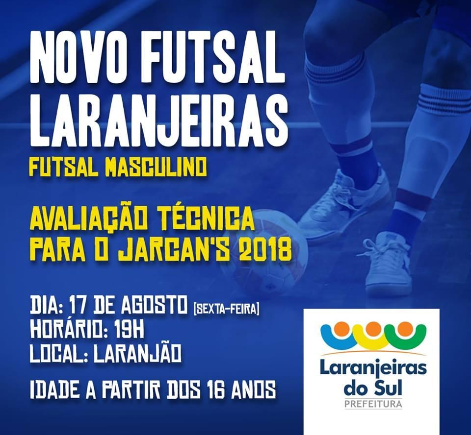 Pensando no Esporte - NOVO FUTSAL LARANJEIRAS terá avaliação técnica dia 17  de AGOSTO 13672220be51b