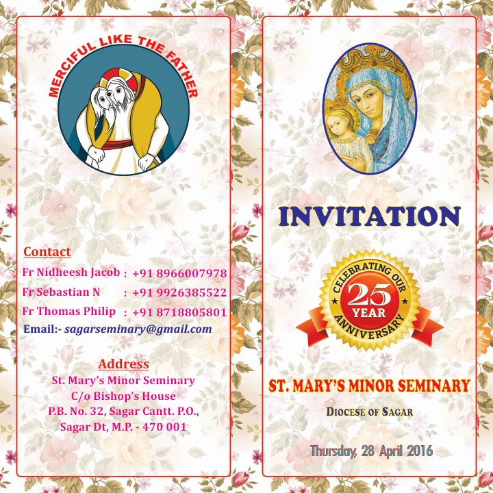 DIOCESE OF SAGAR: Invitation for Silver Jubilee ...