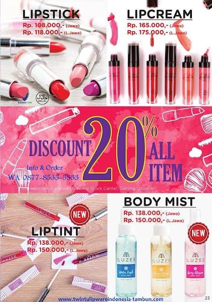 Promo Diskon Lady Tulip Juli 2018, Lipstick, Lipcream, Liptint, Body Mist