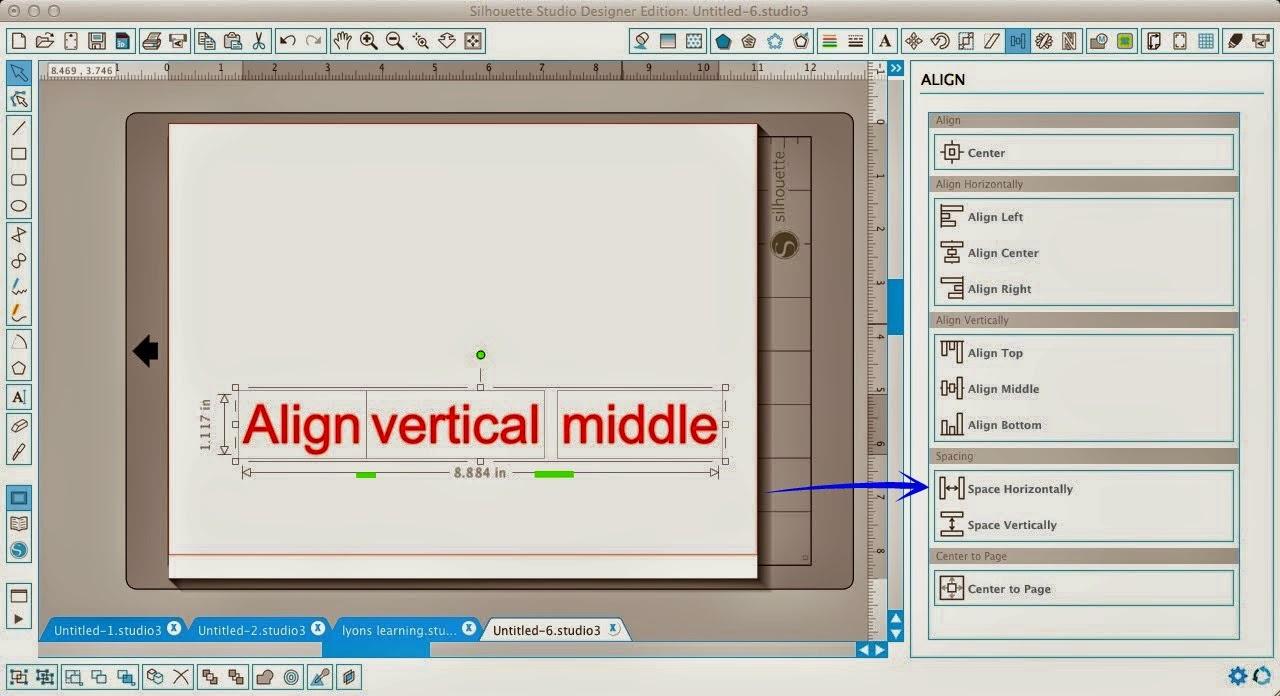 Silhouette Studio, align tool, Silhouette tutorial, space horizontally