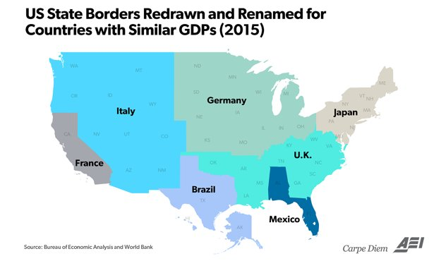 US State Borders Redrawn Renamed For Countries With Similar - Map of us state borders