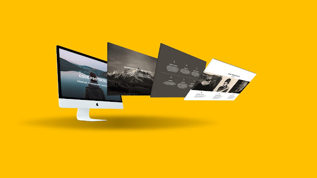Perspective iMac Screen Mockup Free PowerPoint Template Slide 4