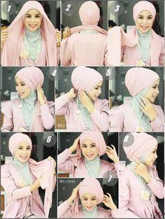 Tutorial Hijab Turban Pashmina Modern Gaya #13 Feminime Lady