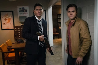 "Jensen Ackles as Dean Winchester and Alexander Calvert as Jack in Supernatural 14x06 ""Optimism"""