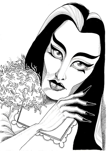 Lily Munster Ink Portrait