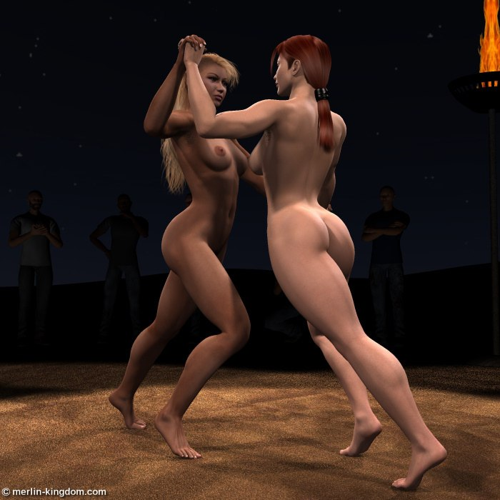 Naked cat fight
