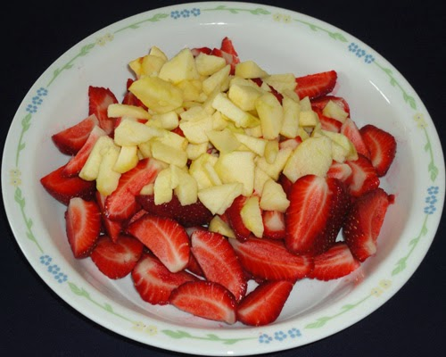 chopped apple and sliced strawberries