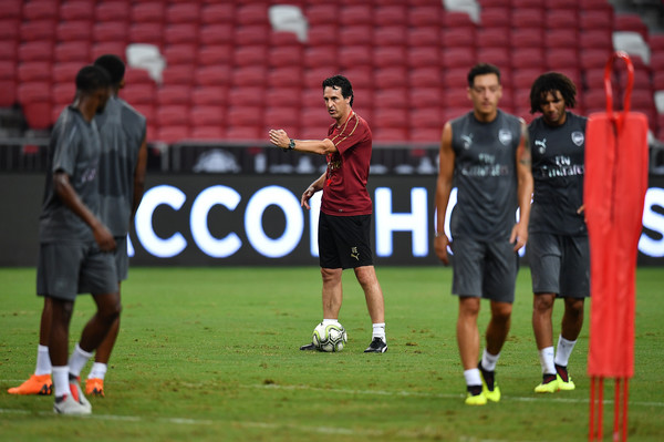 Unai Emery manager of Arsenal actions during training ahead of the International Champions Cup 2018 match between Arsenal v Paris Saint Germain on July 27, 2018 in Singapore.