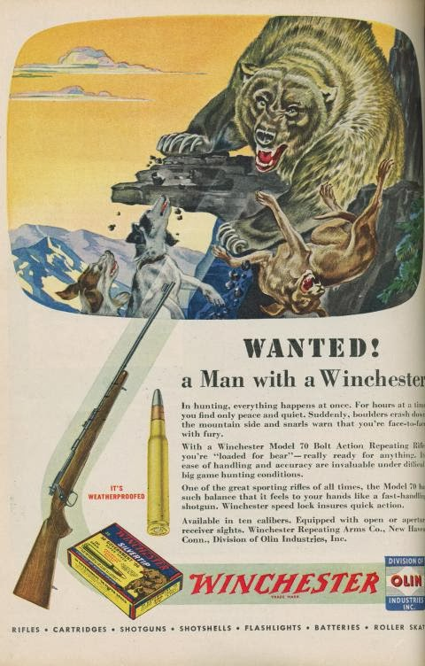 Vintage Winchester Ad Wanted Bear