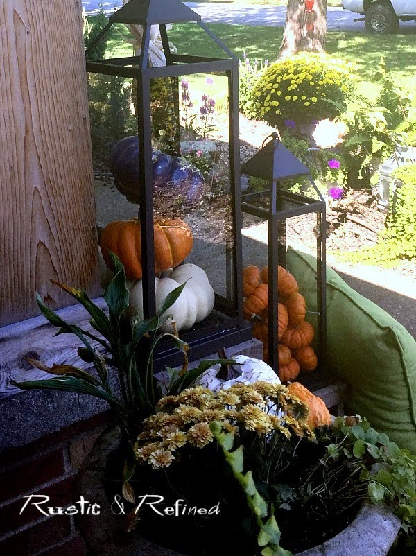 Decorating a cozy front porch for Fall or Autumn using a timeless color scheme and a charming Farmhouse yet Modern look.