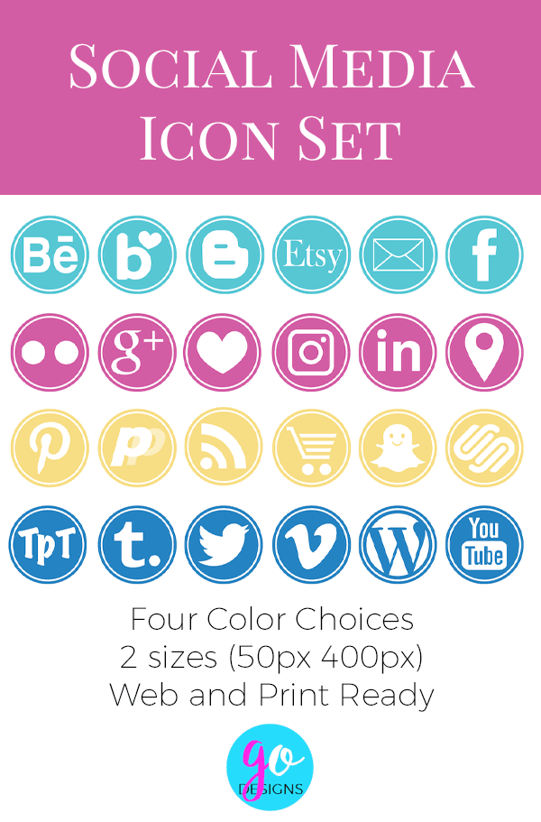 New social media icon set in gorgeous colors: hot pink, aqua, gold and blue. It includes 25 of the most popular icons and they come in two sizes. GradeONEderfulDesigns.com