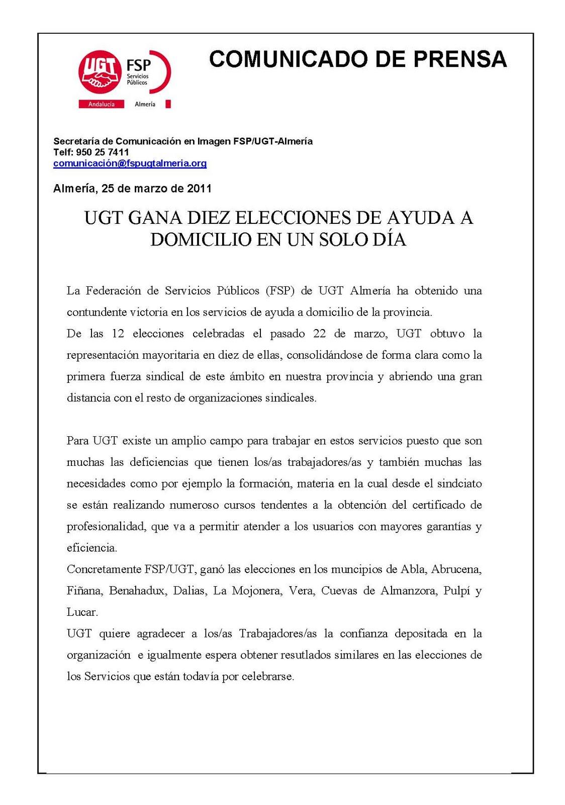 Ayuda a domicilio almer a l0s as trabajadores as de ayuda for Convenio colectivo oficinas y despachos almeria