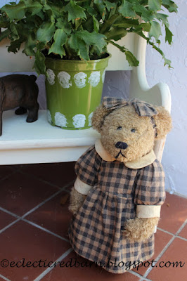 Eclectic Red Barn: Christmas cactus in new flower pots with door stop bear