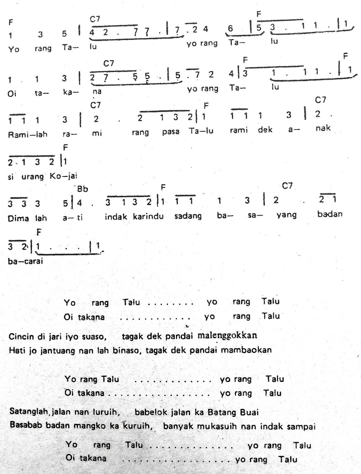 Chord & Arti Lirik Lagu Sumatera Barat: Rang Talu + Not Angka
