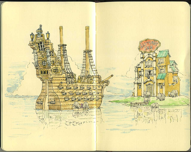 20-The-Elephant-Inn-Mattias-Adolfsson-Surreal-Architectural-Moleskine-Drawings-www-designstack-co