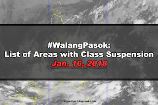 #WalangPasok: List of Areas with Class Suspension Jan. 16, 2018