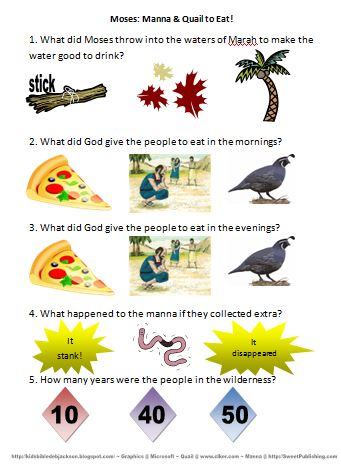 Bible Fun For Kids Moses Manna Quail To Eat