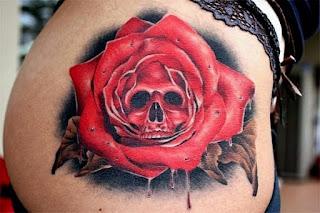 тату череп с розами
