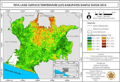 Contoh Peta Suhu Permukaan Lahan Hasil Algoritma SWA www.guntara.com