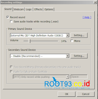 settings microphone pada bandicam 2