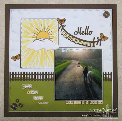 ODBD Custom Sunburst Background Die, ODBD Hello Sunshine, ODBD Sunshine Blessings, ODBD Butterfly and Bugs (and cutom Dies), ODBD Fence Die, ODBD Custom Pennant Swag Die, ODBD Pennant Swag Alphabet, ODBD Custom Clouds and Raindrops Dies, Layout Designer Angie Crockett