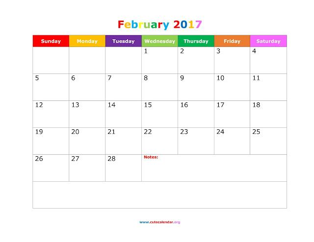 February 2017 Calendar, February 2017 Calendar Printable, February 2017 Calendar Template, Free February 2017 Calendar, February 2017 Holiday Calendar