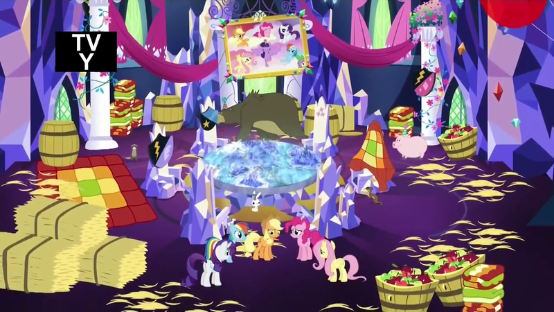 The Mane Six in the messy, redecorated castle