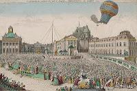 Первый полет воздушного шара братьев Монгольфье. Рисунок XVIII века.