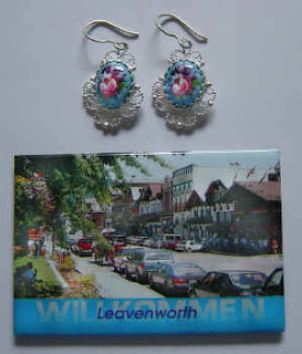 Russian finift silver jewelry earrings and a Leavenworth fridge magnet