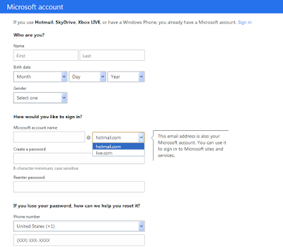 Hotmail homepage with signup button to create a new account