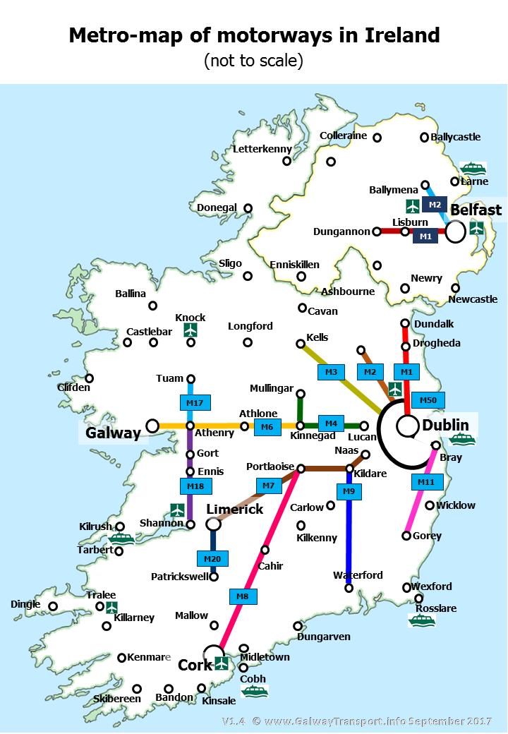 Galwaytransport Info Irish Motorways In A London Metro Style Map