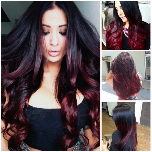 warna rambut burgundy ombre kulit hitam