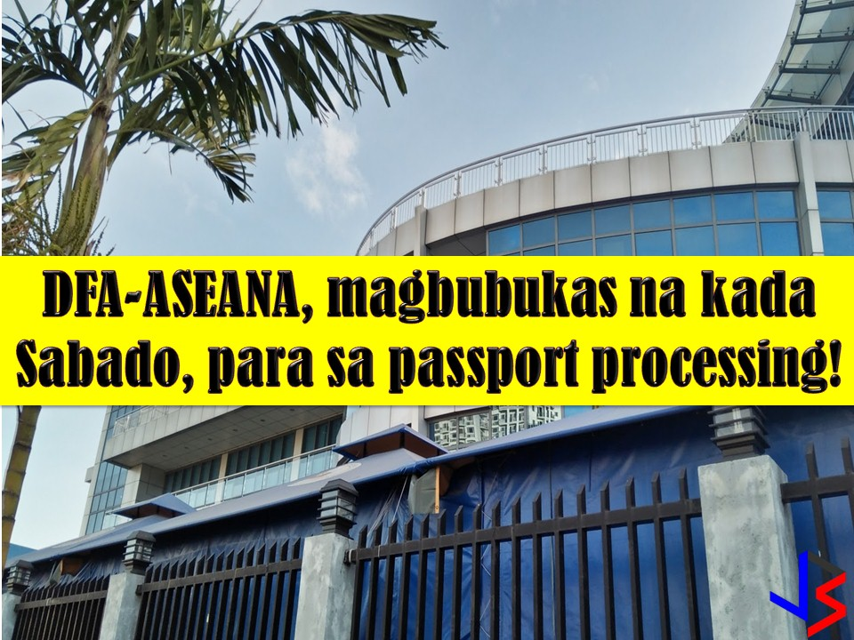 Since the Department of Foreign Affairs (DFA) cannot give thousands of Filipinos a 24-hour passport service, they are now opening their Saturdays to accommodate more applications.   Starting February 10, 2018, the DFA will open its Office of Consular Affairs (OSA) in ASEANA to accommodate passport applicants on weekend.  So if you are looking for quick passport renewal or fast passport application, you can process in DFA-ASEANA, but first, you must obtain an online appointment (good luck for that).  Read more: http://www.jbsolis.com/2018/02/dfa-aseana-to-open-every-saturday-for-passport-application.html#ixzz57p5MCgGg
