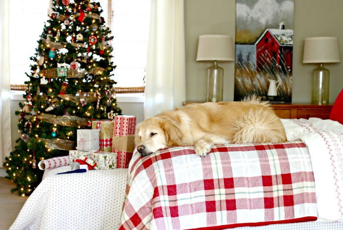 Sleeping dog in Christmas master bedroom - www.goldenboysandme.com