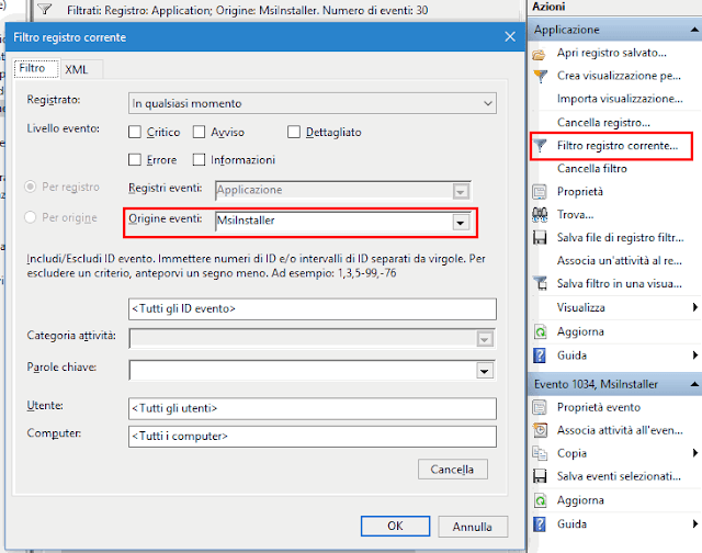 Registro eventi di Windows applicare filtro msinstaller