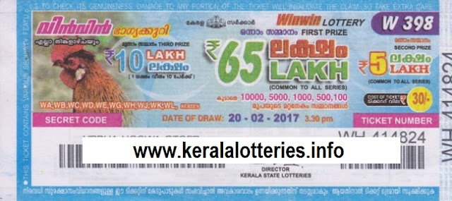 Kerala lottery result of Winwin-W-392