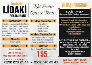 lidaki restoran inciralti yilbasi programi menu