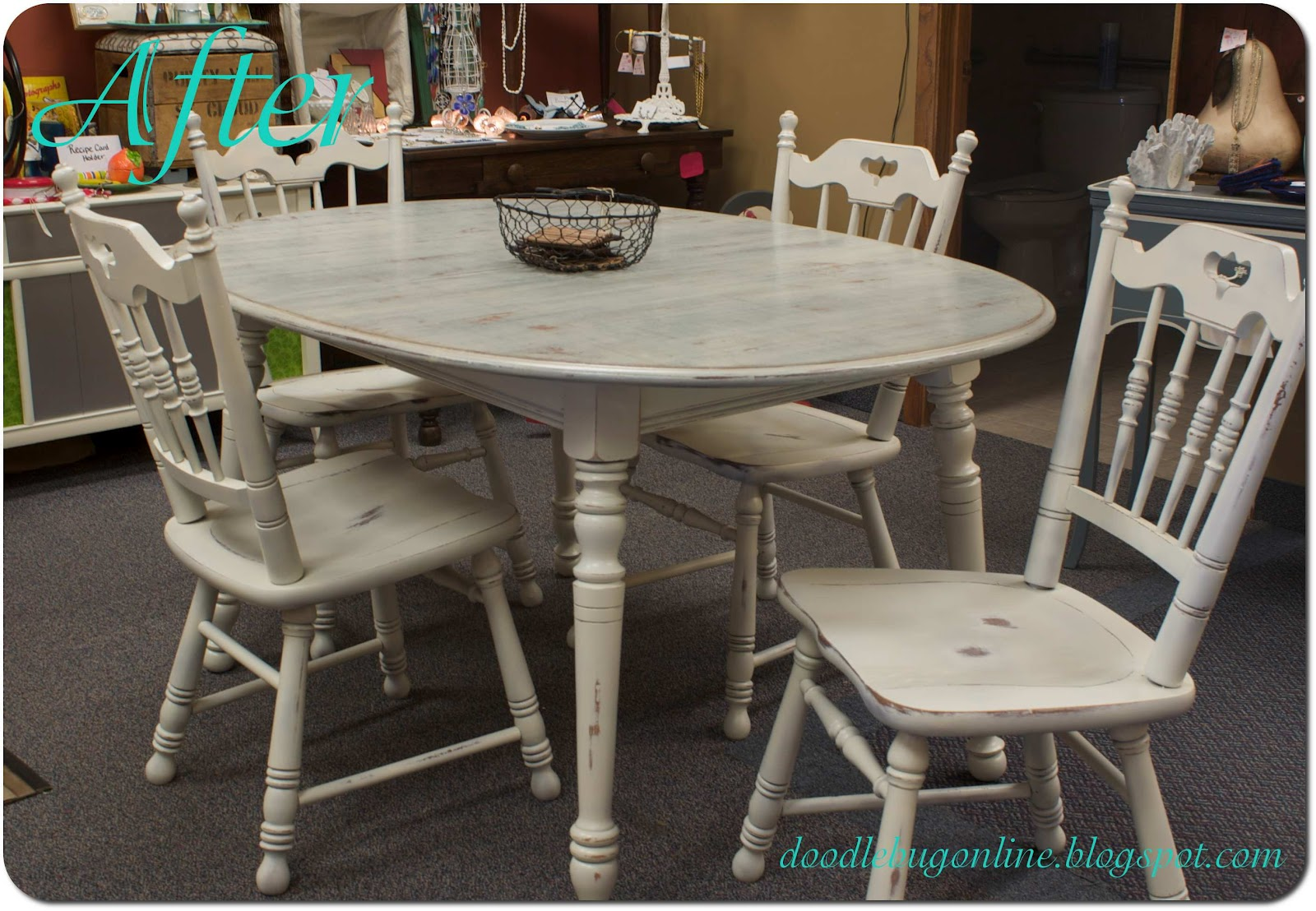 Doodle Bug: White & Grey Distressed Table & Chairs