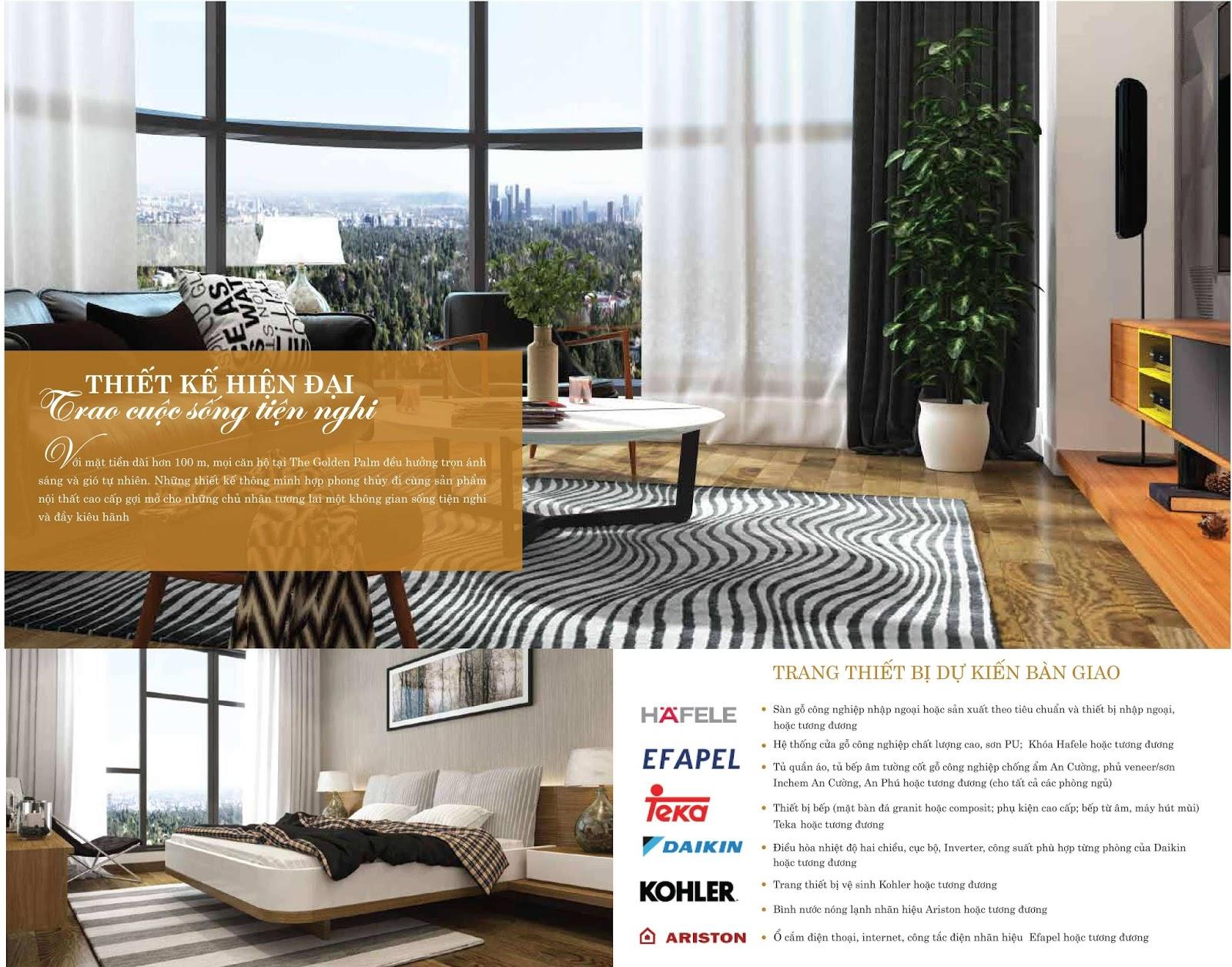 Thiết kế nội thất đẳng cấp tại chung cư The Golden Palm