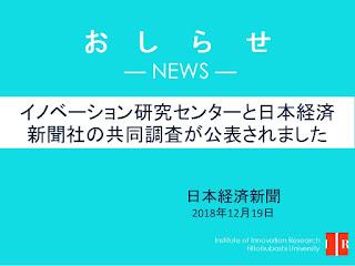 イノベーション研究センター・日本経済新聞社の共同調査が公表されました