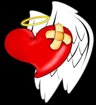 Dibujo de un corazón con alas y curitas