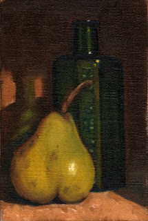 Oil painting of a green pear in front of an antique green glass poison bottle.