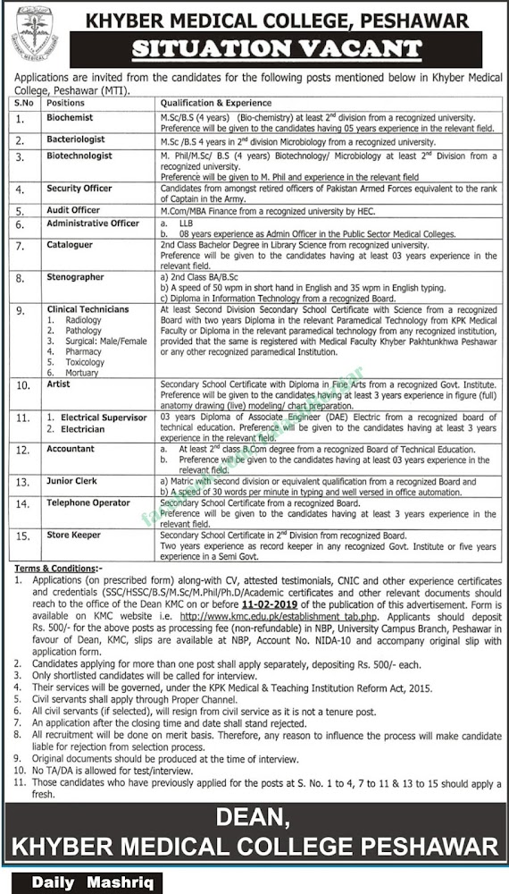 ➨ #Jobs - #Career_Opportunities - More than 15 Jobs at Khyber Medical College, Peshawar – Read this ad for details