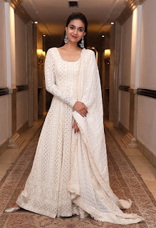 Keerthy Suresh in White Dress with Cute Smile for The Dinner Post The National Awards 2