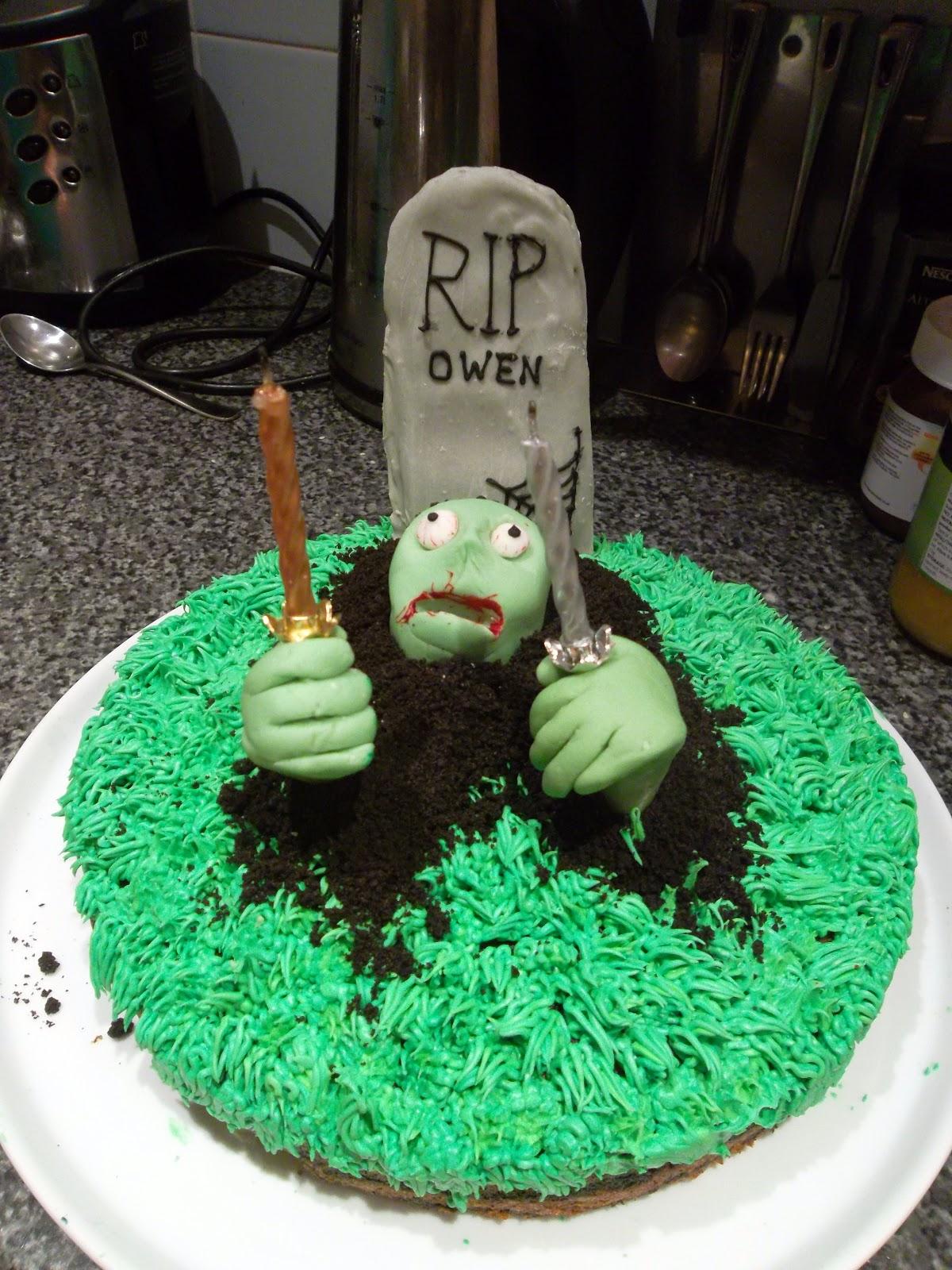 Owens Halloween Birthday Zombie Cake